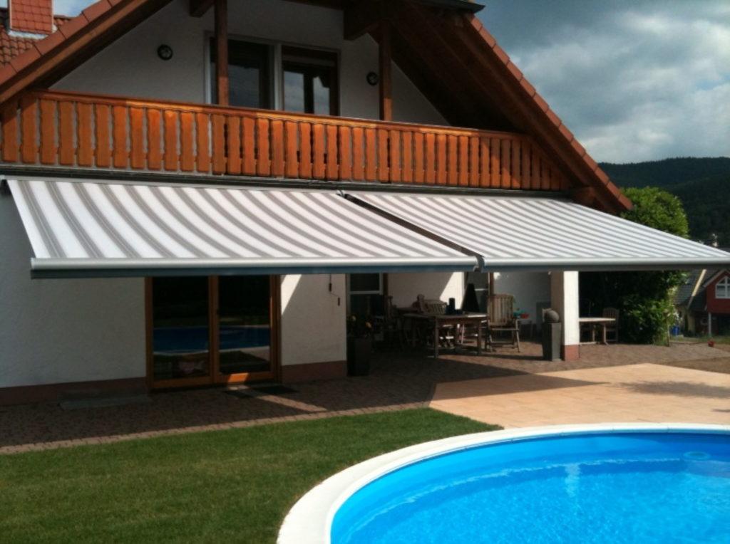 Markisen Altbau Pool Hoolzhaus | SAGA Raumausstattung Aschaffenburg | Gardinen, Bodenbelag, Sonnenschutz, Pergola, Rolladen, Insektenschutz und Wasserschaden
