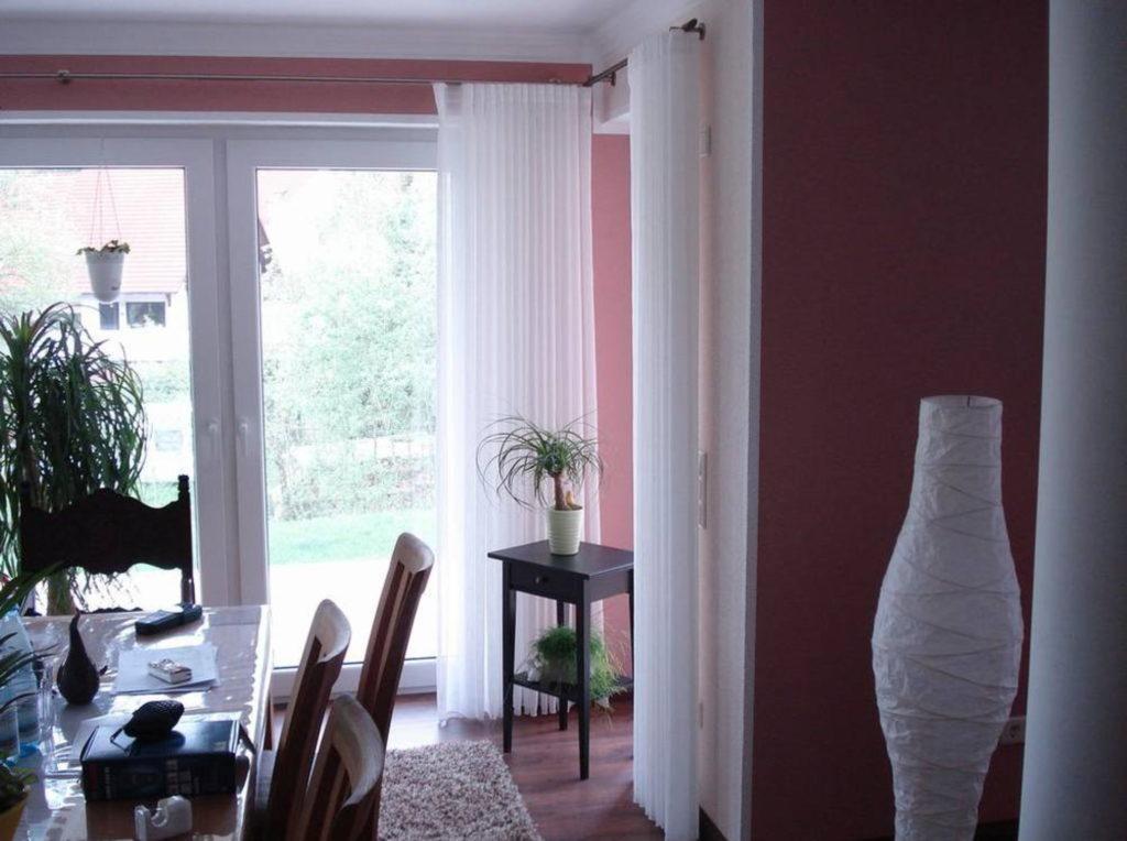 Gardine rosa Stoff Wohnung | SAGA Raumausstattung Aschaffenburg | Gardinen, Bodenbelag, Sonnenschutz, Pergola, Rolladen, Insektenschutz und Wasserschaden