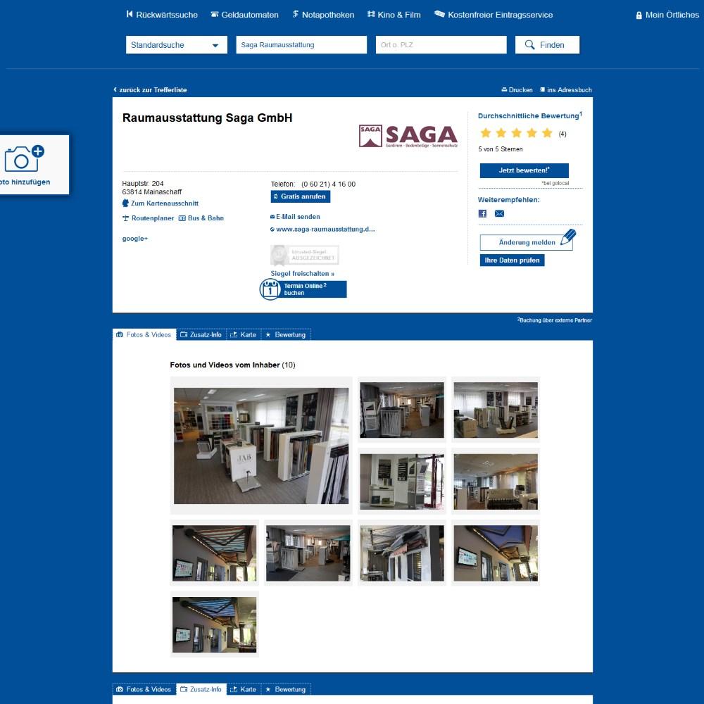 Das Örtliche Bewertungen | SAGA ist seit 50 Jahren Spezialist für Gardinen, Bodenbelag, Sonnenschutz, Sonnensegel, Markisen, Pergola, Rolladen, Insektenschutz, Wasserschaden, Renovierung und Raumausstattung in Aschaffenburg