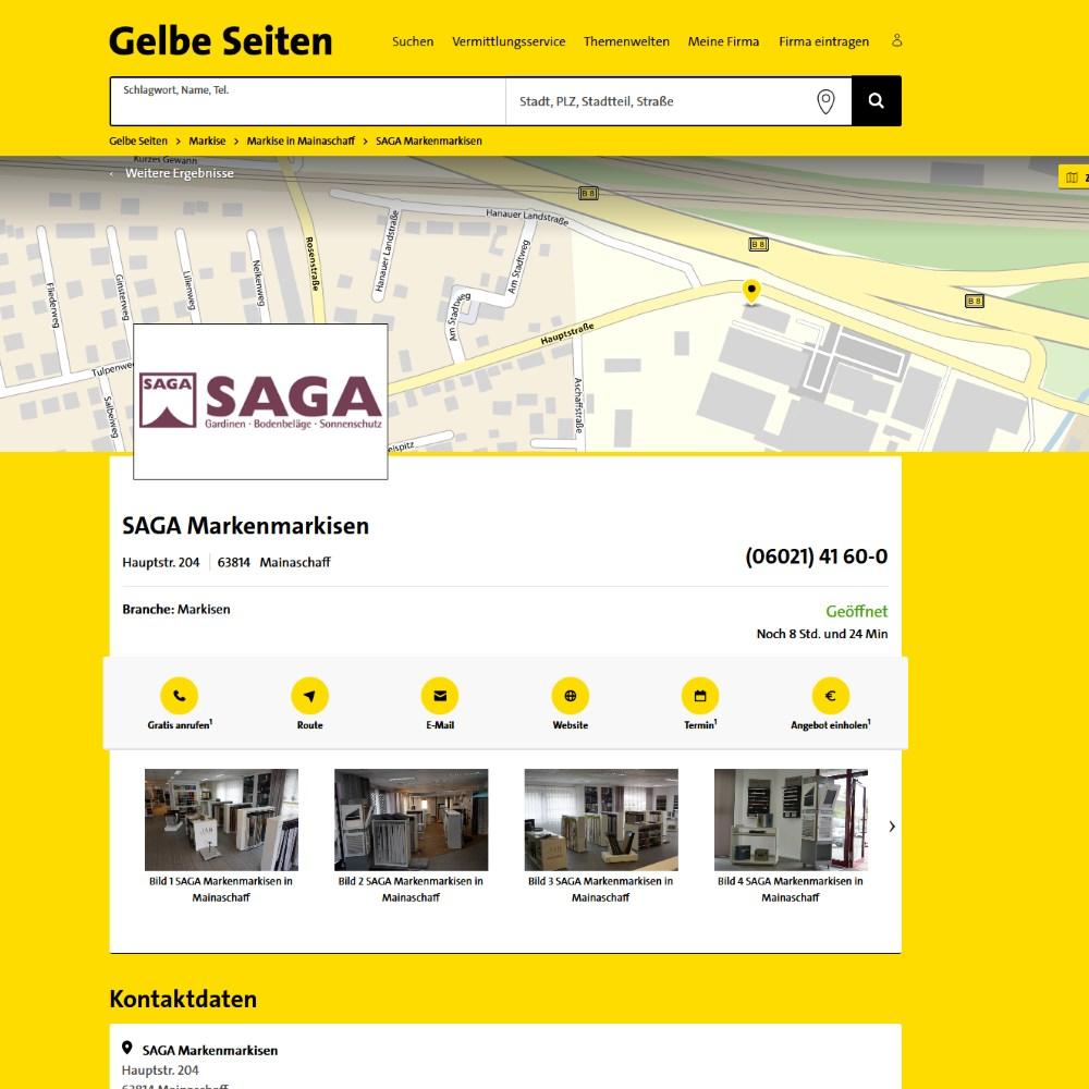 Gelbe Seiten Bewertungen | SAGA ist seit 50 Jahren Spezialist für Gardinen, Bodenbelag, Sonnenschutz, Sonnensegel, Markisen, Pergola, Rolladen, Insektenschutz, Wasserschaden, Renovierung und Raumausstattung in Aschaffenburg
