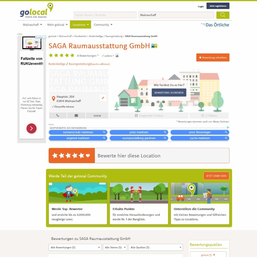 golocal Bewertungen | SAGA ist seit 50 Jahren Spezialist für Gardinen, Bodenbelag, Sonnenschutz, Sonnensegel, Markisen, Pergola, Rolladen, Insektenschutz, Wasserschaden, Renovierung und Raumausstattung in Aschaffenburg
