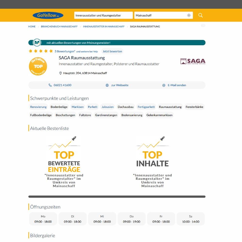Go Yellow Bewertungen | SAGA ist seit 50 Jahren Spezialist für Gardinen, Bodenbelag, Sonnenschutz, Sonnensegel, Markisen, Pergola, Rolladen, Insektenschutz, Wasserschaden, Renovierung und Raumausstattung in Aschaffenburg